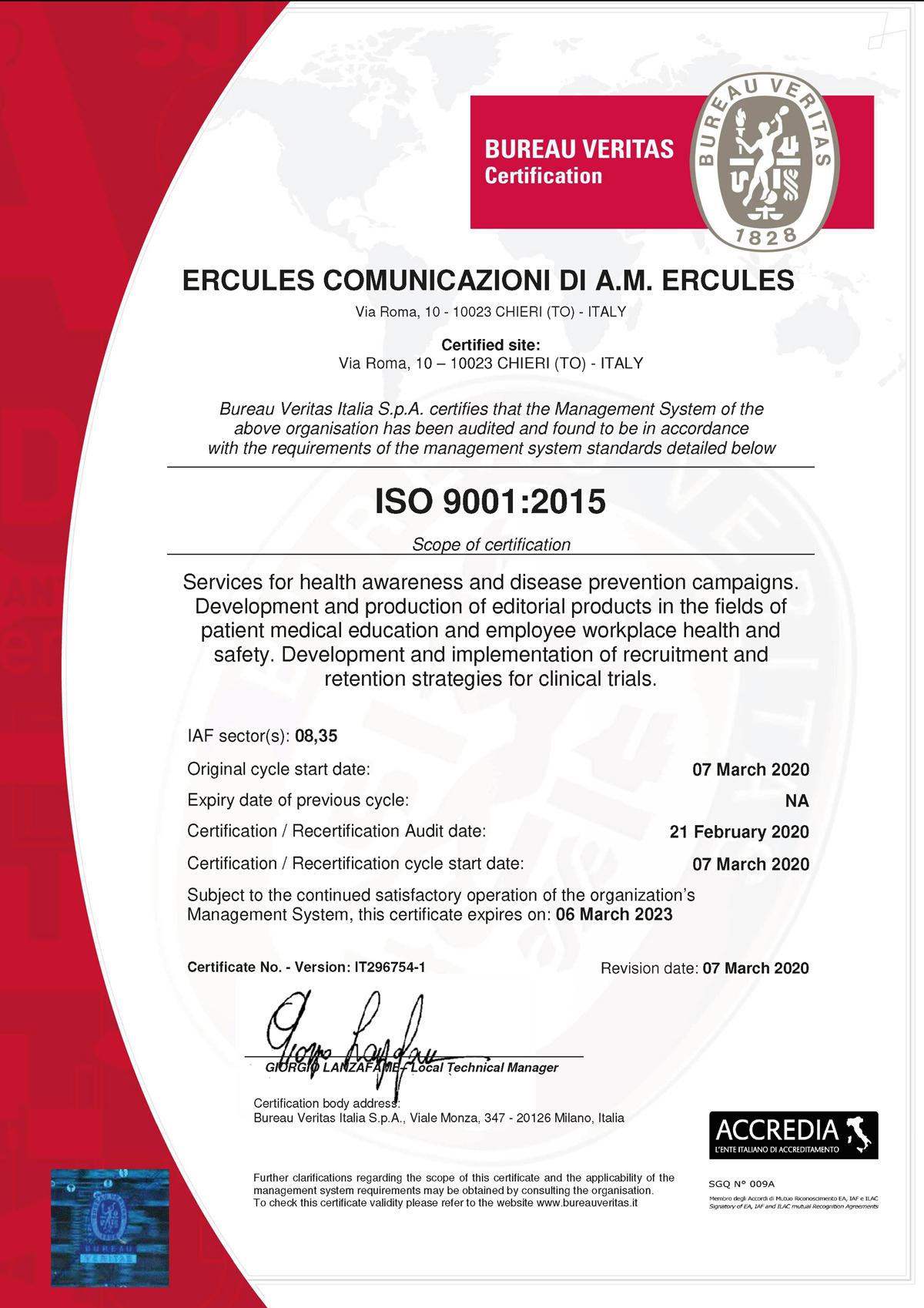Ercules ISO 9001 EN