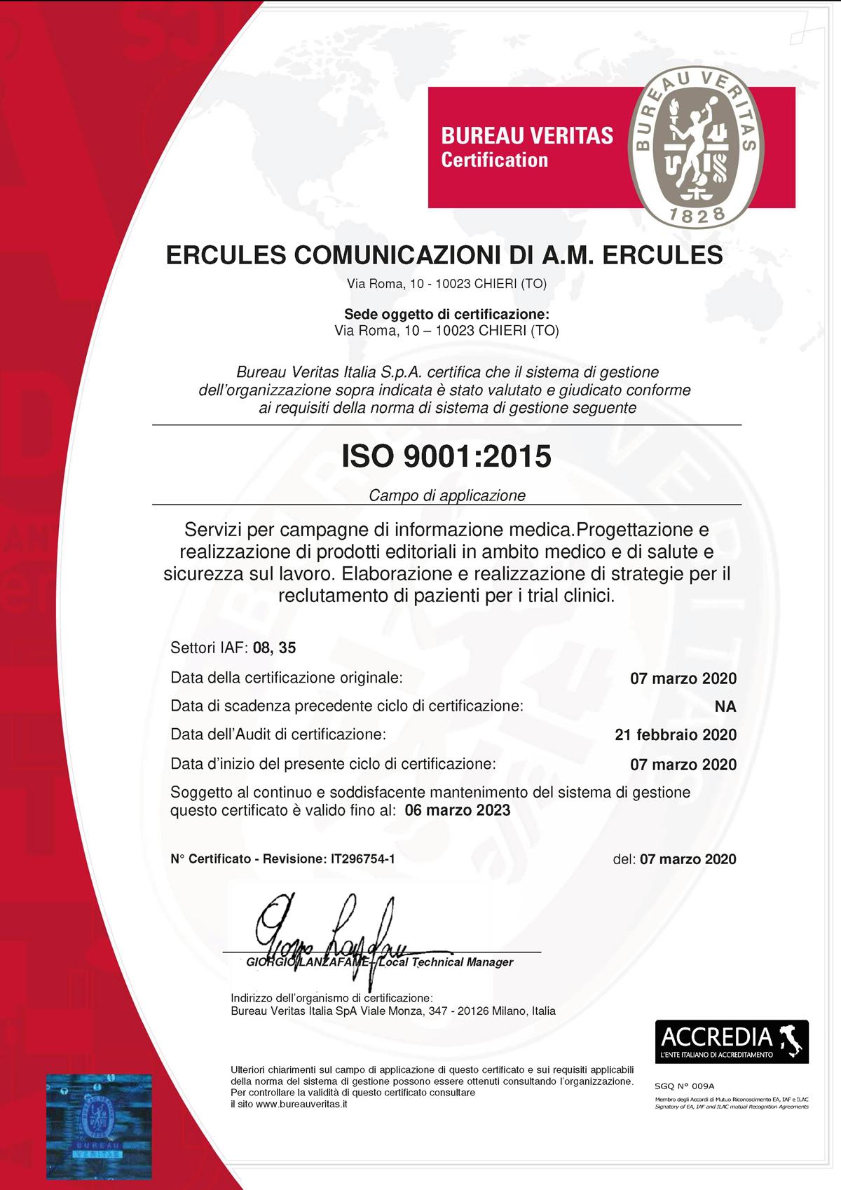 Ercules ISO 9001 certificate